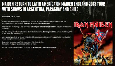 Maiden England 2013, Latinoamérica, Colombia no aparece