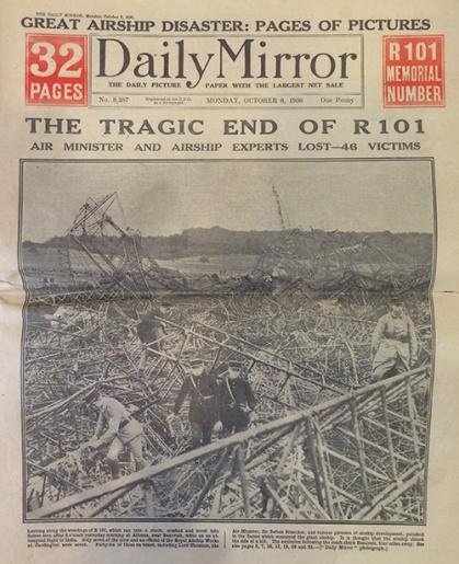 Réplica del periódico sobre la aeronave R101