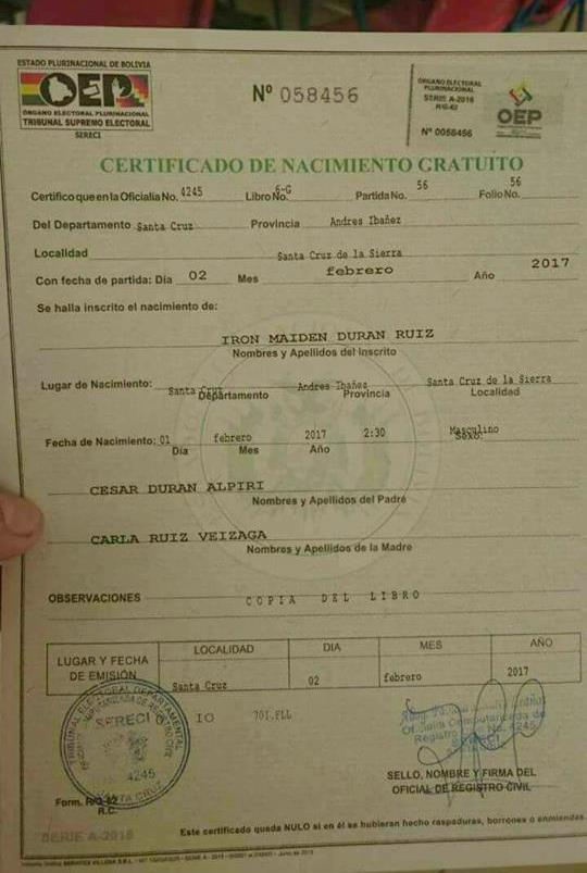 Certificado de nacimiento Iron Maiden Durán | Iron Maiden Blood ...